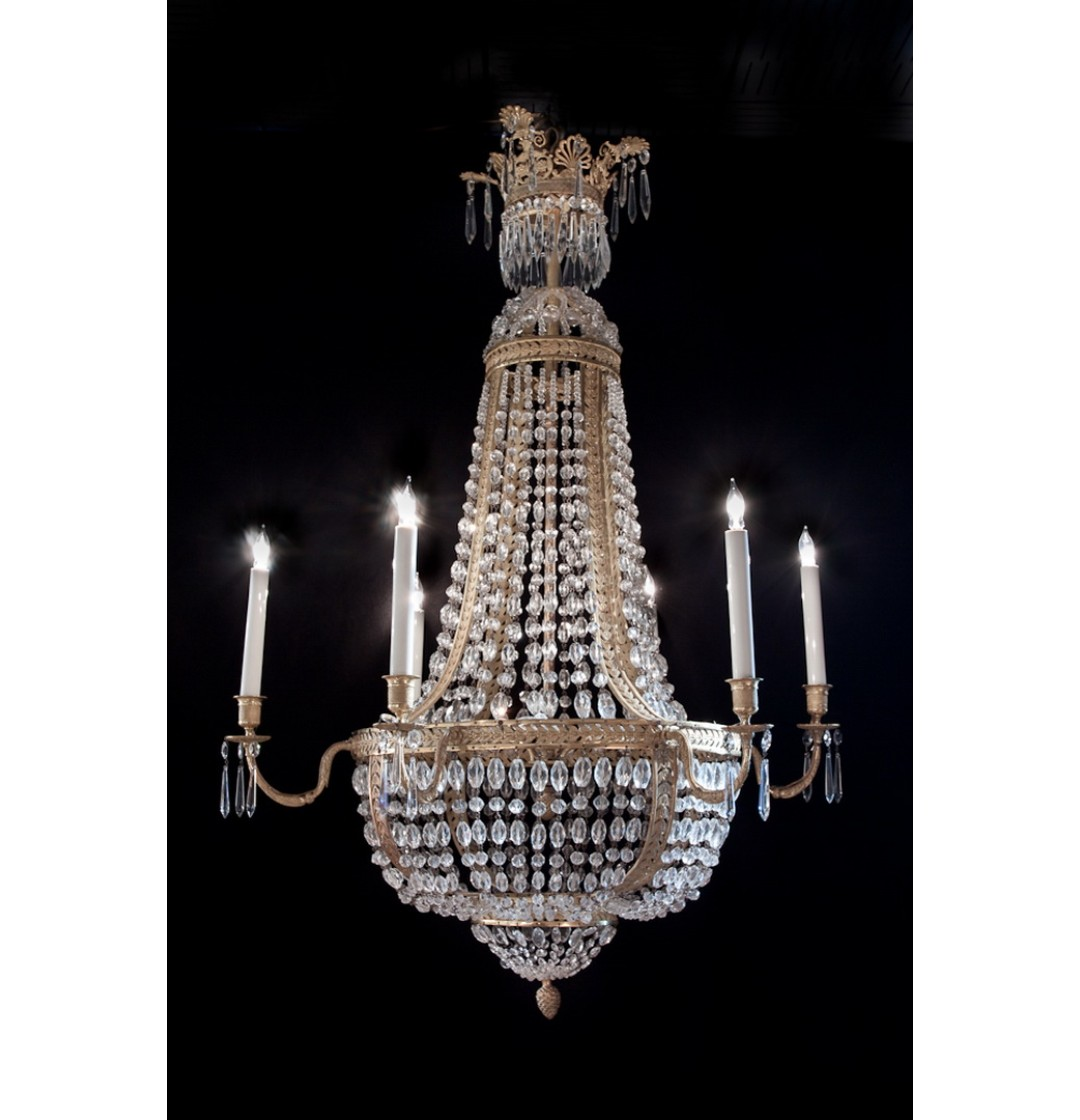 Empire Dore Bronze & Crystal Chandelier – 6 lights - Empire Dore Bronze & Crystal Chandelier - 6 Lights - John Nelson