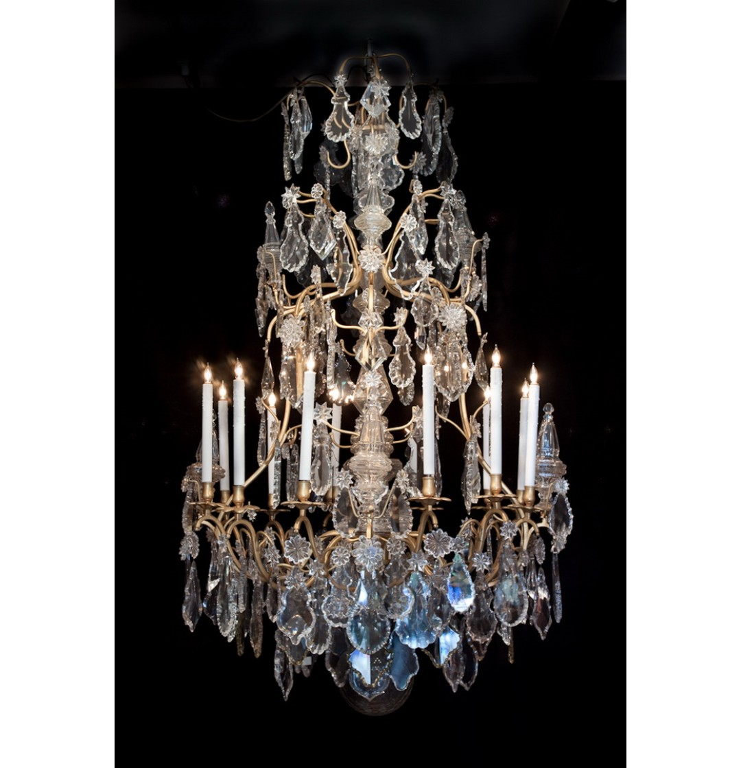Chandeliers - Louis XV Style Crystal Chandelier - 12 Lights - John Nelson Antiques