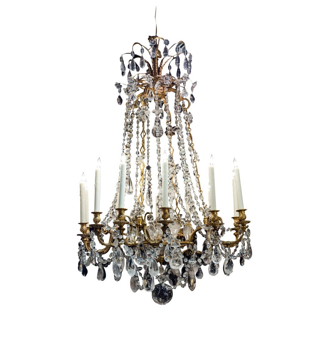 Louis xv style gilt bronze rock crystal chandelier 12 lights chandeliers aloadofball Gallery