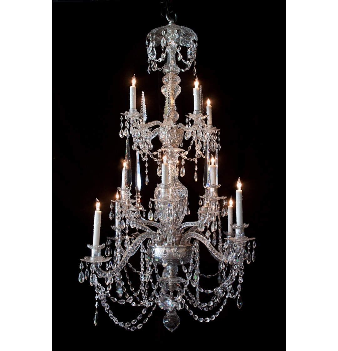 Waterford Crystal Chandelier – 12 lights - Waterford Crystal Chandelier - 12 Lights - John Nelson Antiques