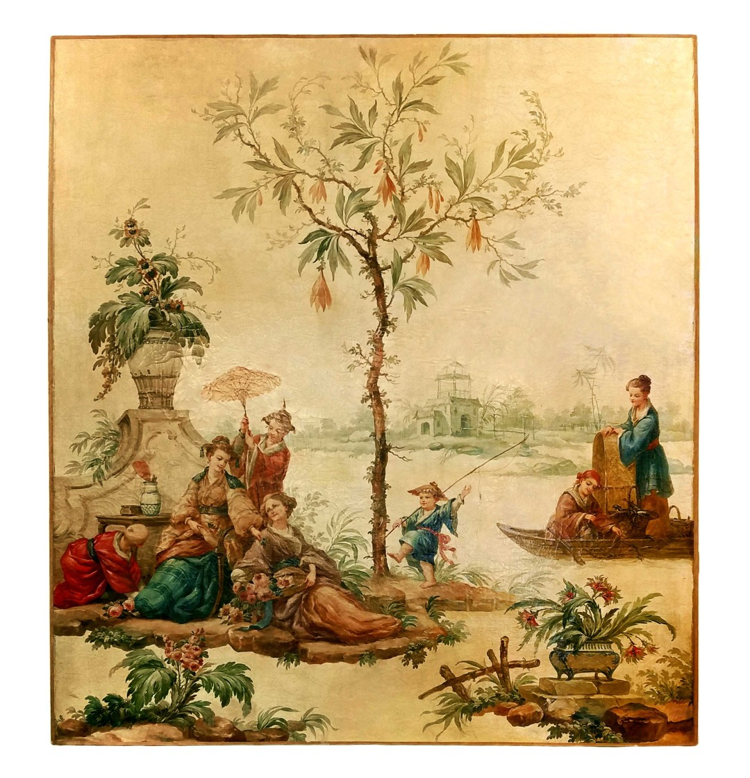 Large Chinoiserie Oil on Canvas. - John Nelson Antiques
