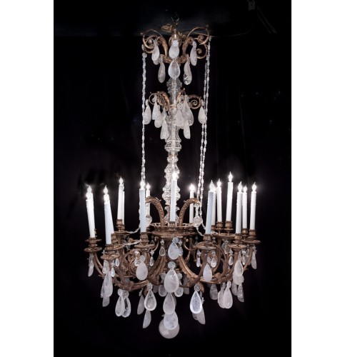 Louis XVI Style Rock Crystal Chandelier 18 Lights