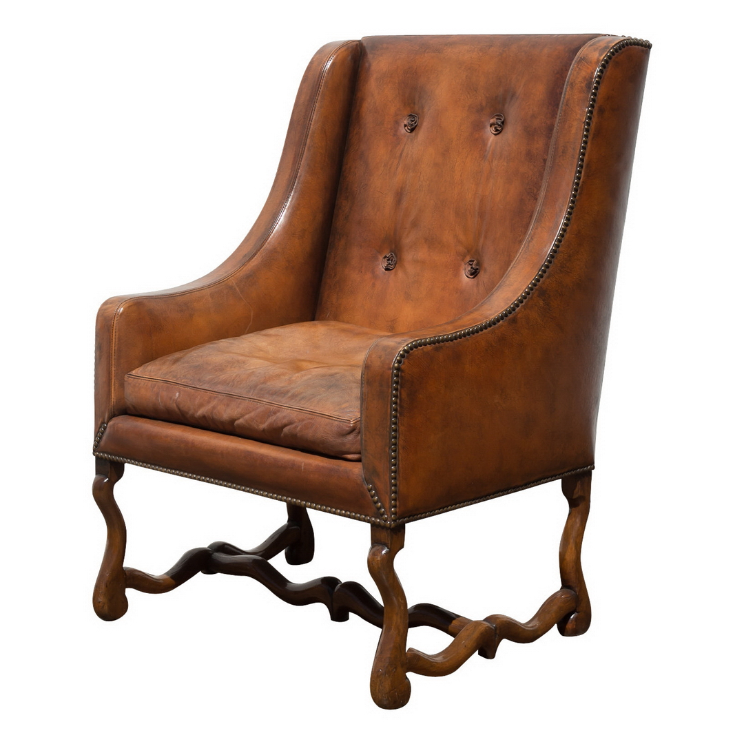louis xiv style leather upholstered walnut fauteuil john nelson antiques. Black Bedroom Furniture Sets. Home Design Ideas