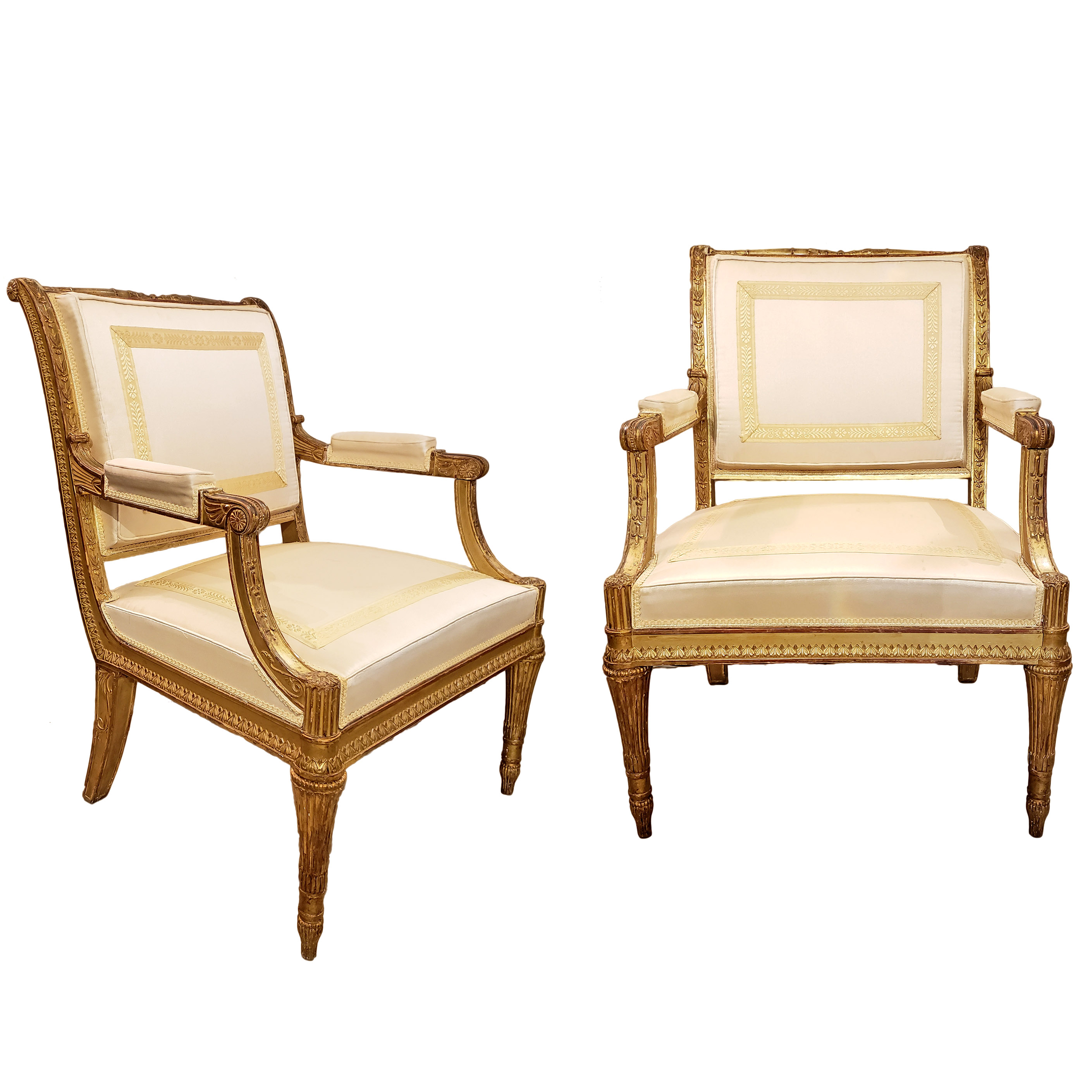 Pair Of Italian Louis XVI Neoclassical Painted And Gilded